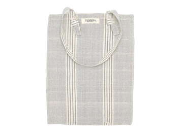 Grey Stripe Cotton Tote