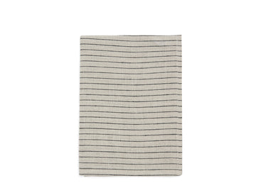Black + Natural Stripe Linen Tea Towel