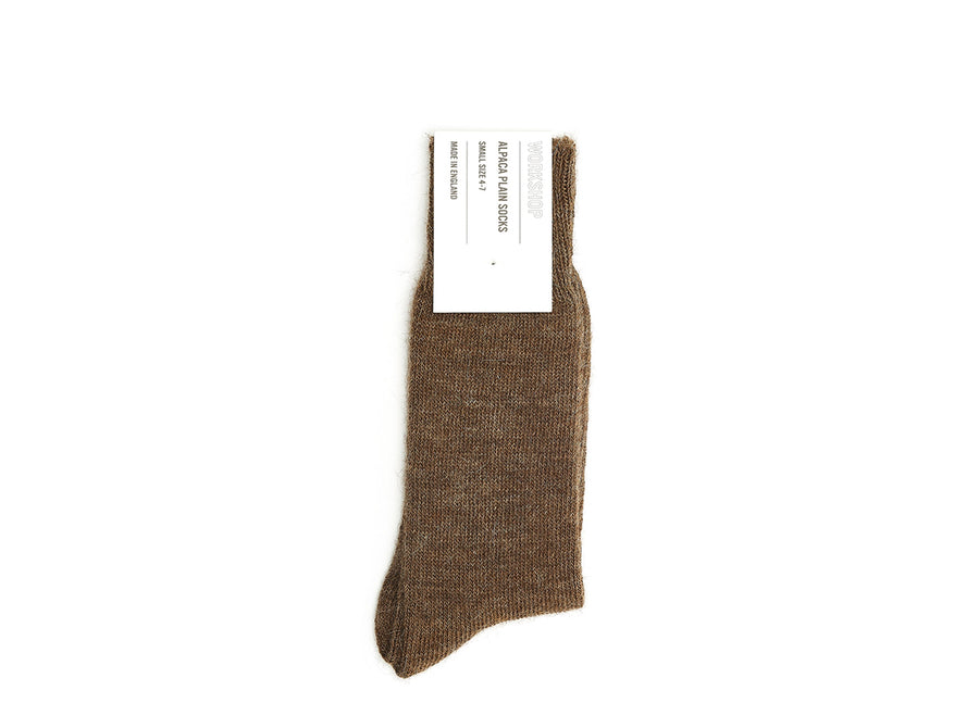 Brown Alpaca Plain Socks
