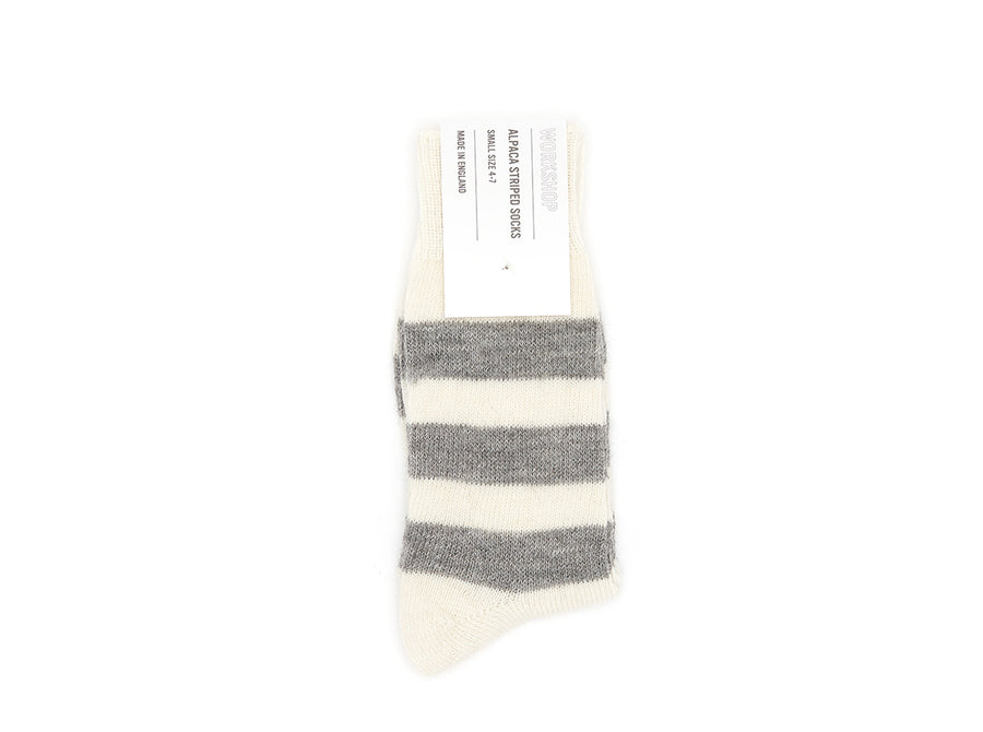 Grey/Ecru Striped Alpaca Socks