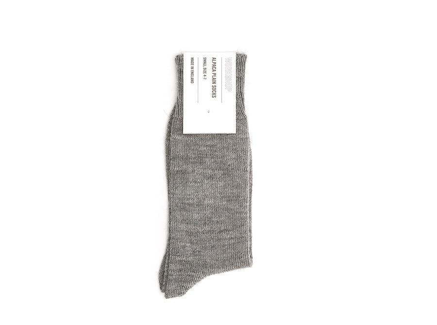 Grey Alpaca Plain Socks