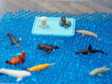 Use little plastic cold weather animals in your easy ice excavation
