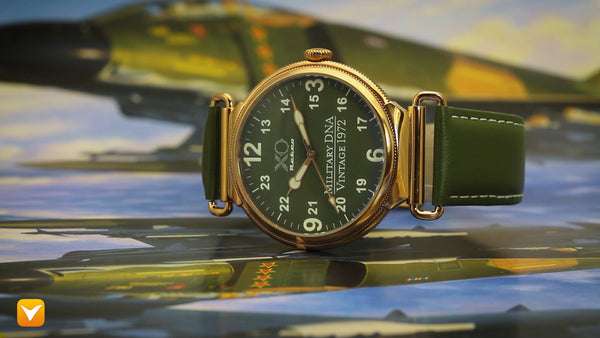 XO Retro F4 Phantom 1972 Air Force Military DNA Mens Watch Rose Gold 46mm Green Dial Green Strap 03A