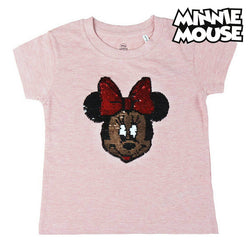 Child's Short Sleeve T-Shirt Minnie Mouse Pink Sequins