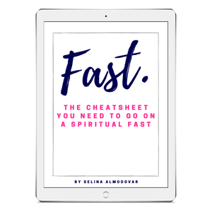 "ipad in a white background with an ebook cover that reads, ""Fast. The Cheatsheet You Need To Go On A Spiritual Fast"" by Selina Almodovar"