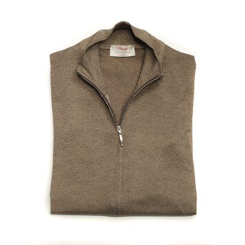 Gran Sasso Vintage Merino Full Zip Knitwear / Light Brown