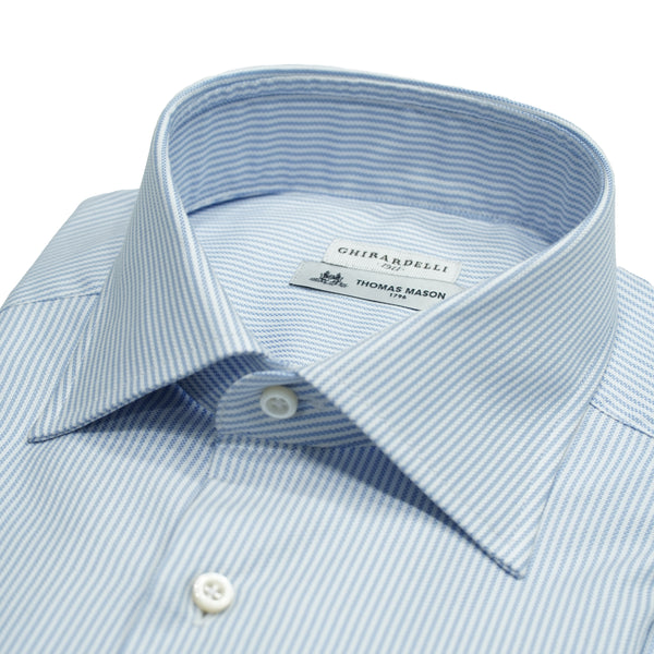 Ghirardelli shirt made of 100% Thomas Mason cotton Oxford. Classic and outstandingly versatile business shirt. No matter if you are a fan of Italian or English style, this is a must have. It brings you the best of both worlds.  Thomas  Mason is a iconic English fabric supplier. Today it belongs to the italian Albini Group , which is the biggest european shirt fabric produser. 100% cotton Oxford  Slim fit Removable collarbones Rounded single button cuffs Mod. L69 Article: T7454 Col. 01
