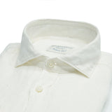 White 100% linen Ghirardelli shirt. A wardrobe summer stable in both color and material. Pair it with casual summer outfits or with a nice blazer for more dressed up summer occasions. 100% Linen Removable collarbones Rounded single button cuffs  Mod. 64/TC Article: TC162 Col. 100