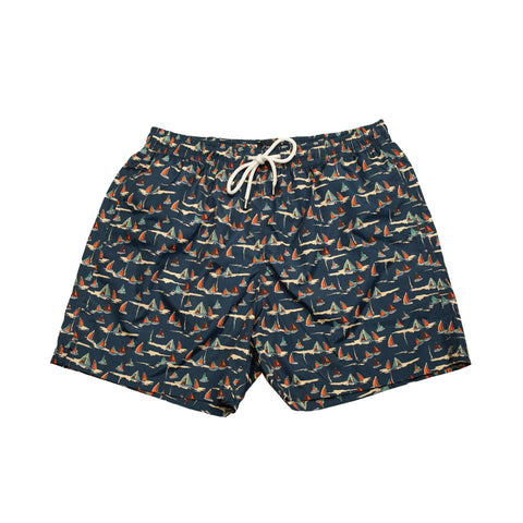 Drake's Sailboat Drawstring Swim Trunks - Navy