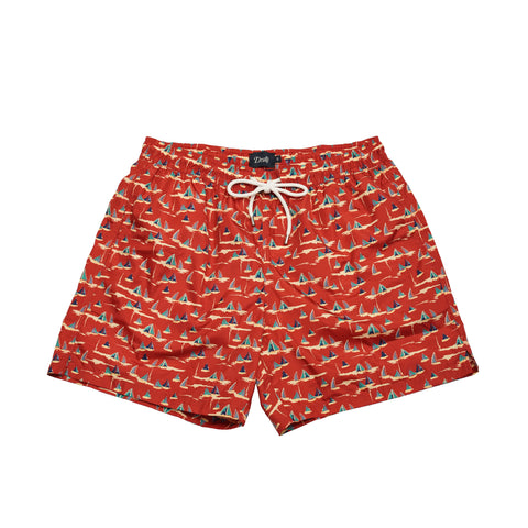 Drake's Sailboat Drawstring Swim Trunks - Red