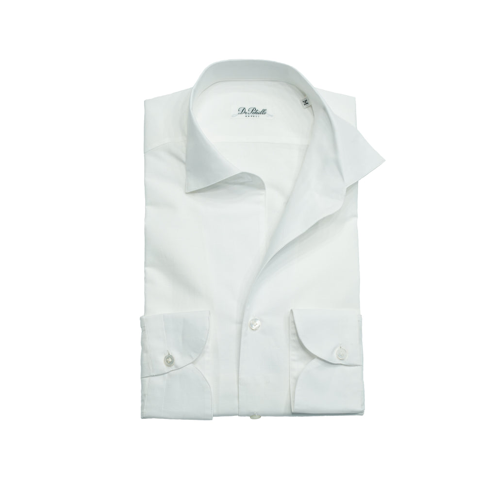 Handcrafted Cotton linen De Petrillo shirt whit capri collar. In capri collar the top part of the collar is constructed of the same piece as collar foot. It rolls open beautifully way when top button is unbuttoned. This style is filled with summer and Sartoria elegance.  70% Cotton 30% Linen Capri Collar Regular fit  Long sleeves Capri-06 Made in Italy