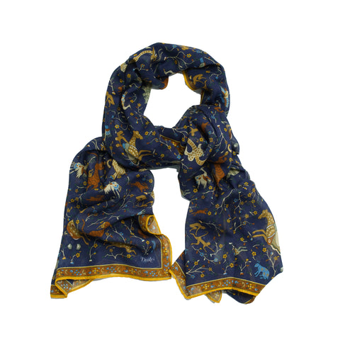 Drake´s  Mystic Animal Printed Scarf / Blue & Ocher