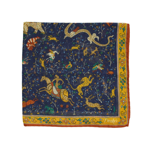 Drake´s Mythical Animal Printed Pocket Square / Navy