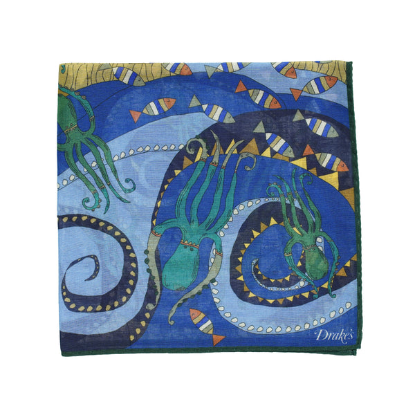 Octopus Printed Pocket Square. Strong and vivid colors to brighten up your outfit. Quite big size but folds small due to the light and airy material. 78% Cotton 20% Modal 2% Cashmere Made in Italy 45cm x 45cm
