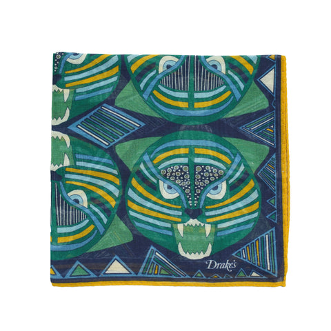 Drake´s Bold Tiger Printed Pocket Square / Navy & Green
