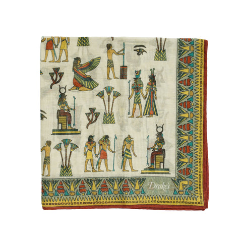 Drake´s Egyptian Print Pocket Square / Beige