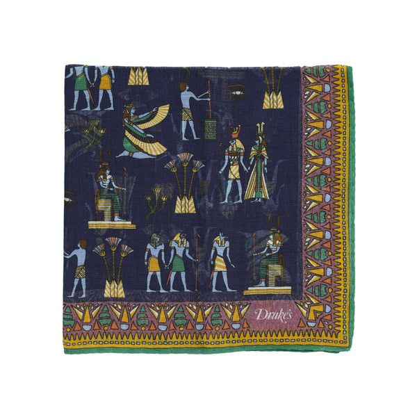 Pocket square inspired by ancient Egyptian figures. Not known to contain magical powers. Quite big size but folds small due to the light and airy material. 78% Cotton 20% Modal 2% Cashmere Made in Italy 45cm x 45cm