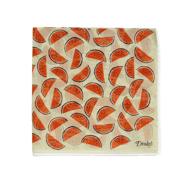 Watermelon Printed pocket square. As fresh and nice as it's inspiration. Quite big size but folds small due to the light and airy material. 72% Cotton 28% Silk Made in Italy 45cm x 45cm