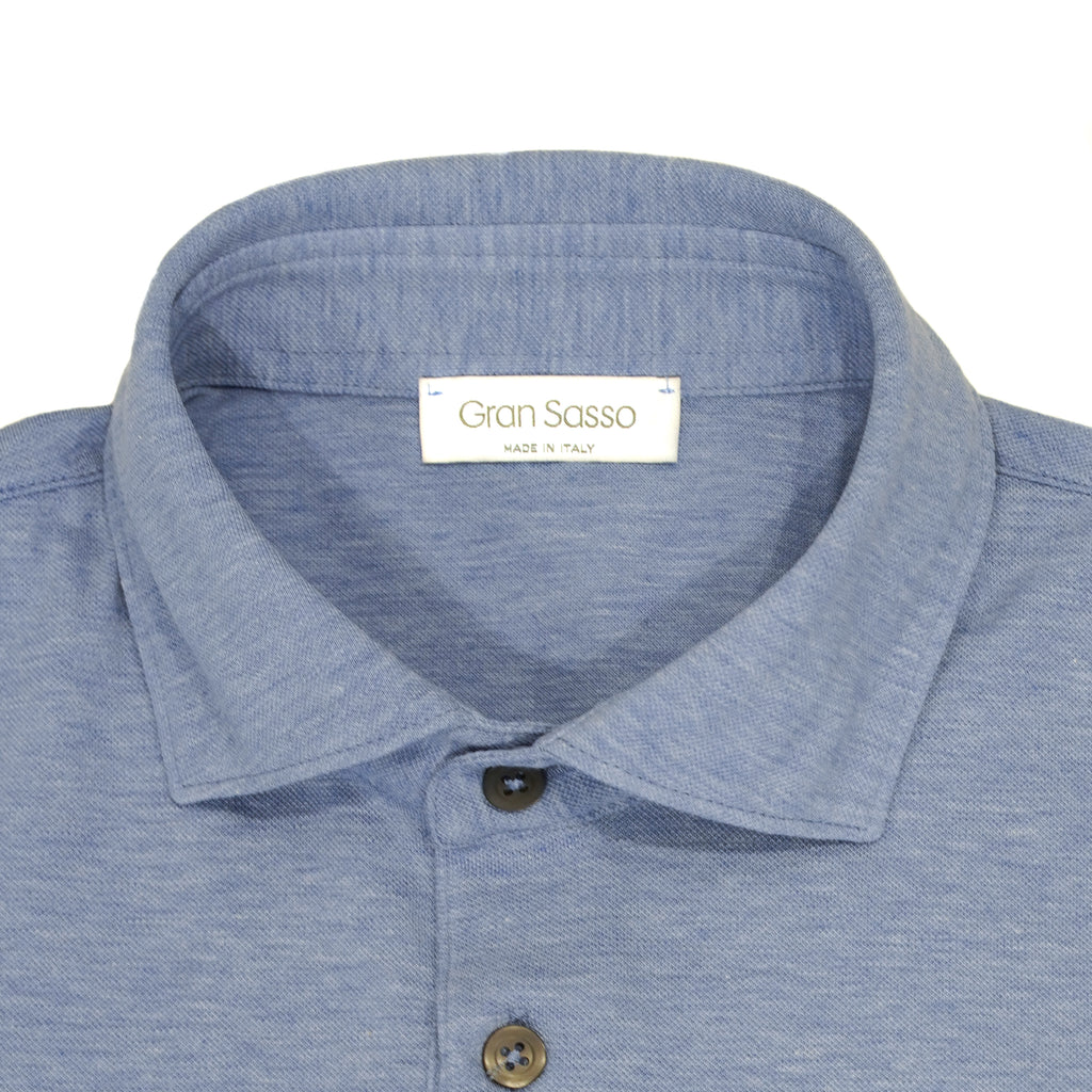 Gran Sasso Polo shirt made of fine jersey cotton. Soft semi cutaway collar,  fly with 3 buttons, slim fit, snug sleeves... No explanation needed. One of the summer essentials.  100% cotton Model: Polo Article: 60103/81402 Color: 510 Maglificio Gran Sasso