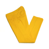 the slim fit chino. These are made in a slim cut and garment dyed and washed which give the trousers a beautiful and unique colour. These are the trousers that go with everything from t-shirts to jackets or even with both. 98% Cotton 2% Elastan Color: Bright Yellow Button closure with zippered fly Slanted front pockets and two back pockets Model: SC Reg Article: ts0001x Made in Martina Franca, Italy BERWICH PANTALONE ITALIANO