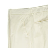 garment dyed and washed which give the trousers a beautiful and unique colour. These are the trousers that go with everything from t-shirts to jackets or even with both. 11% of silk gives these trousers a truly luxurious touch. 85% Cotton, 11% silk, 4% Elastan Color: Off white / Cream Button closure with zippered fly Slanted front pockets and two back pockets Model: SC Reg Article: ts0002x Made in Martina Franca, Italy