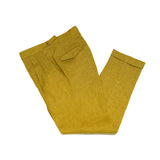 Active Linen Trousers from Briglia. Machine washable (30 degrees celsius), natural stretch, wrinkle resistant. Never has linen trousers been this easy to keep in shape.  Active Linen 2 pleats side adjusters 2 back pockets with flaps cuffed hem Model: Quartieri Art: 320118 Col: 43 / Yellow melangé Made in Naples, Italy