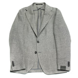 ool/Linen mix summer jacket Hopsack Unlined Unconstructed shoulder 2 Buttons Side vents Notch lapel Patch pockets Composition: 58% Wool, 42% Linen Color: Silver Modello: G-PL22K Article: 47UEG076 Colore: A287 Made in Italy Tagliatore