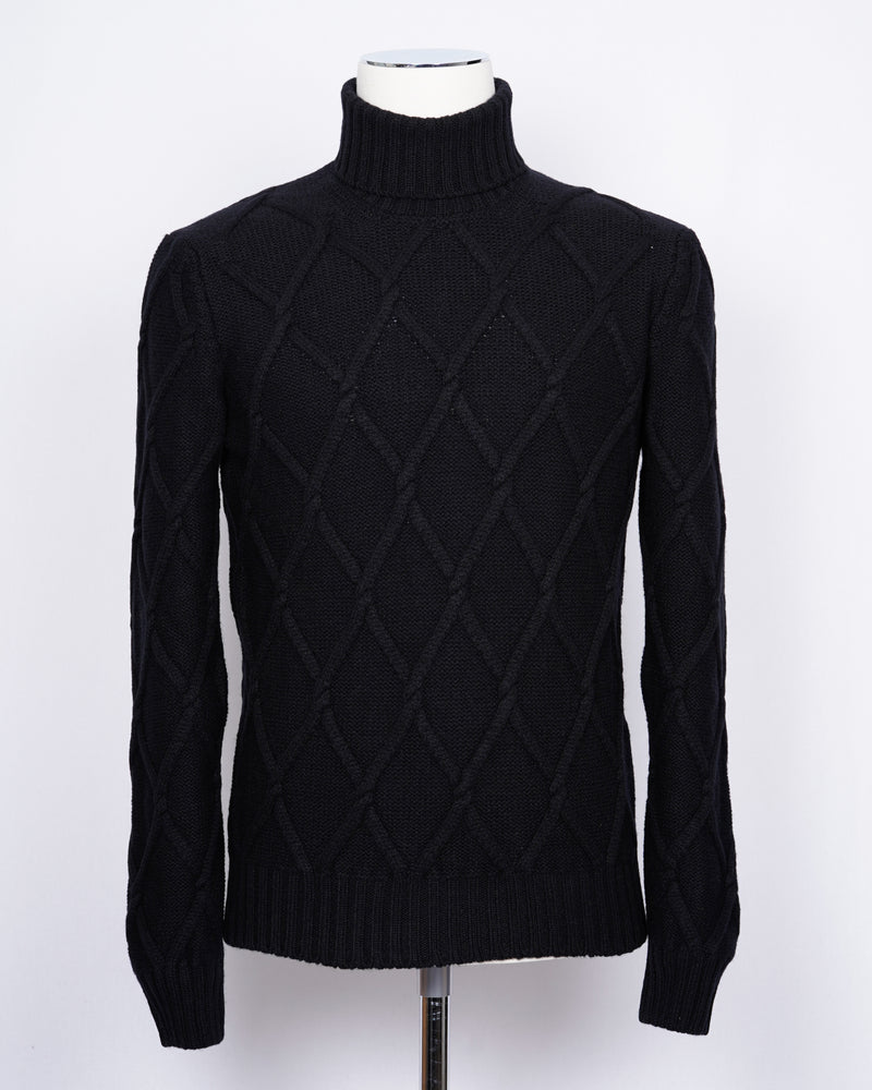 Gran Sasso Air Wool Cable Knit Roll Neck / Black