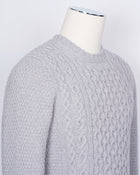Drumohr Crew Neck Cable Knit / Light Grey