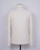 Gran Sasso Air Wool Cable Knit Roll Neck / White