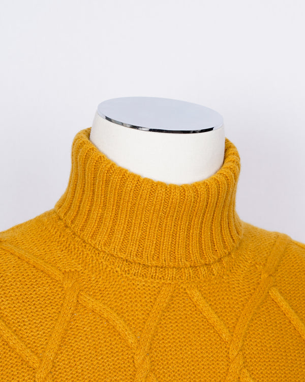Gran Sasso Air Wool Cable Knit Roll Neck / Yellow