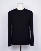 Crew neck 100% merino wool knit from G.R.P. Firenze. Straight hem and sleeve. Quite heavy quality and clean lines for calm elegance.     100% Merino Wool  Long sleeves Art. SF TEC 55 Col. Blu Notte / Navy Blue