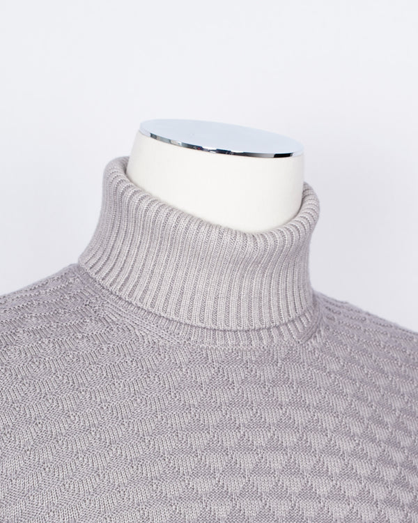 Gran Sasso Vintage Merino Roll Neck Triangle Stitch/ Light Grey