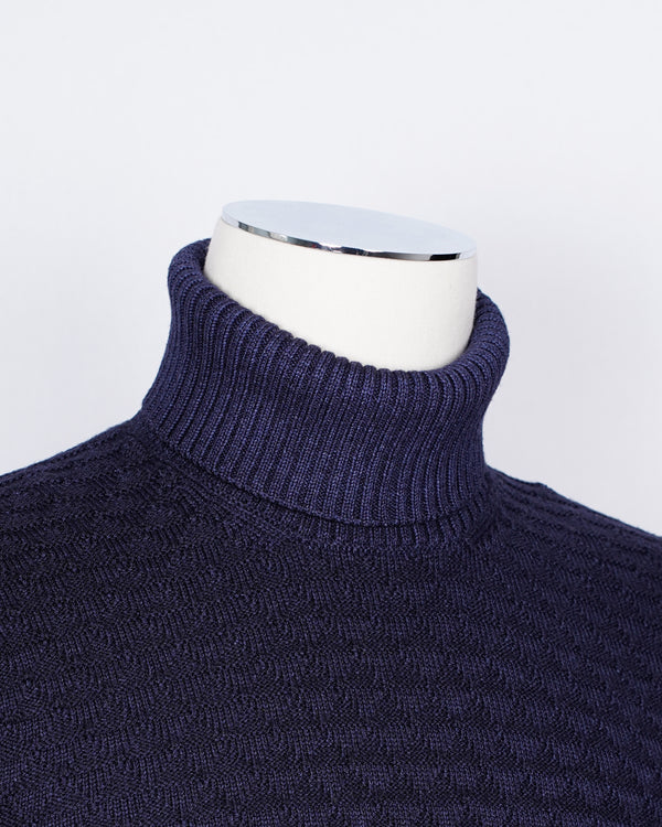 Gran Sasso Vintage Merino Roll Neck Triangle Stitch/ Blue