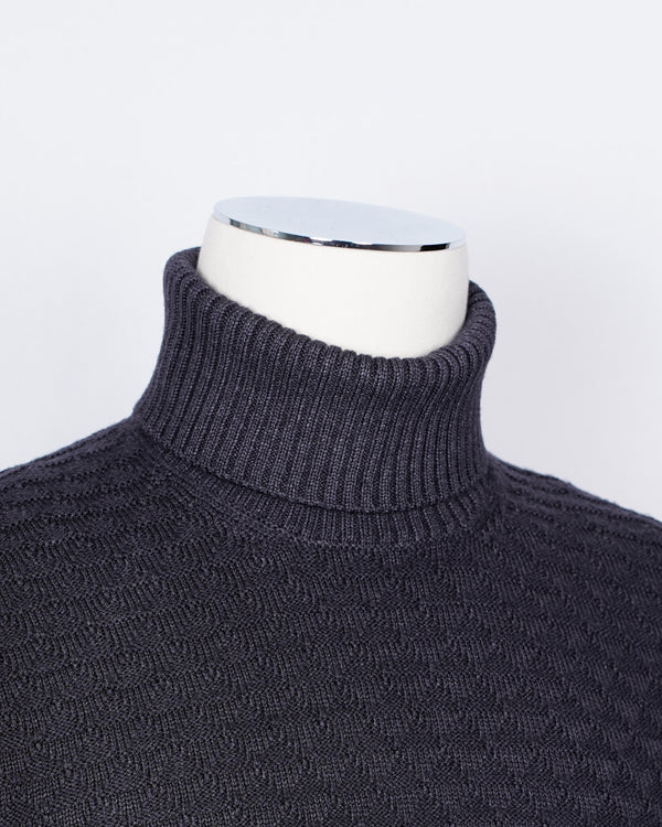 Gran Sasso Vintage Merino Roll Neck Triangle Stitch/ Dark Grey