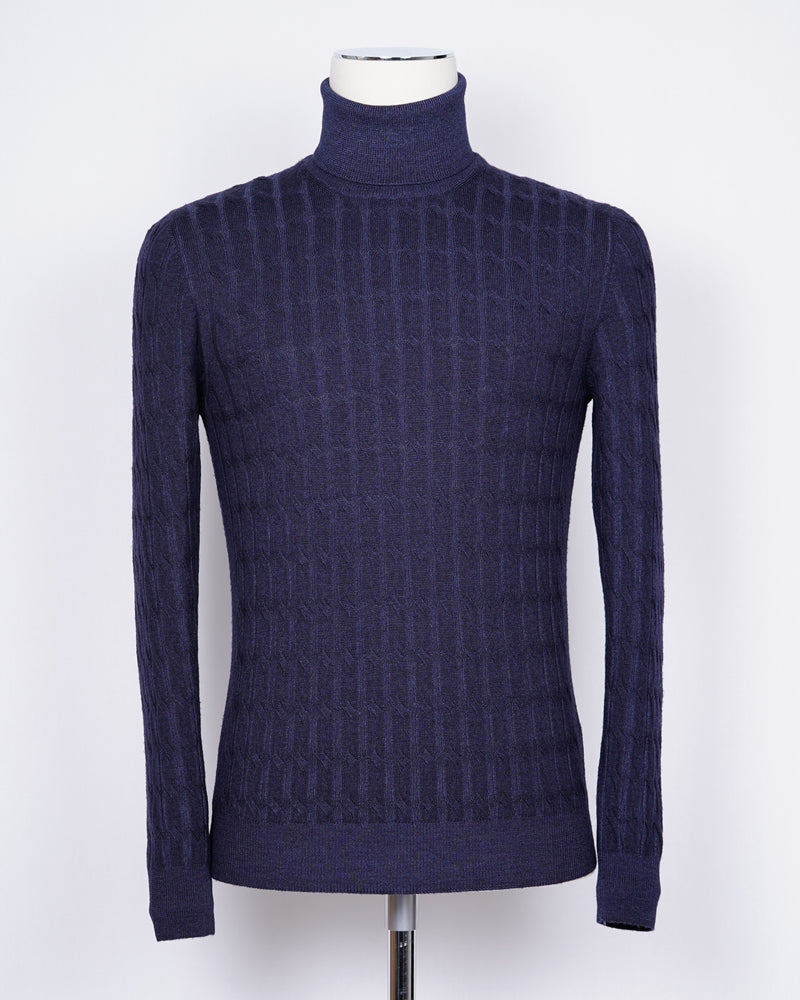 Gran Sasso Vintage Merino Cable Knit Roll Neck / Blue