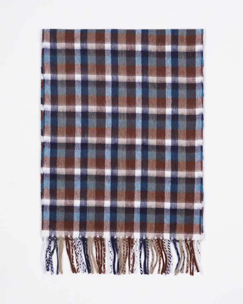 Drake´s Wool & Angora scarf / Brown & Blue
