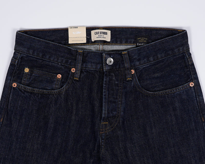 This 13oz Selvedge from Candiani has a solid indigo color throughout the garment, allowing for personal wear and patina, while the Rinsed wash keeps the jeans from dry-bleeding on other fabric.  Classic 5 pocket jeans Mod. M3 13 oz. 100% Cotton Made in Italy