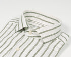 Ghirardelli White Linen Shirt With Green Stripes