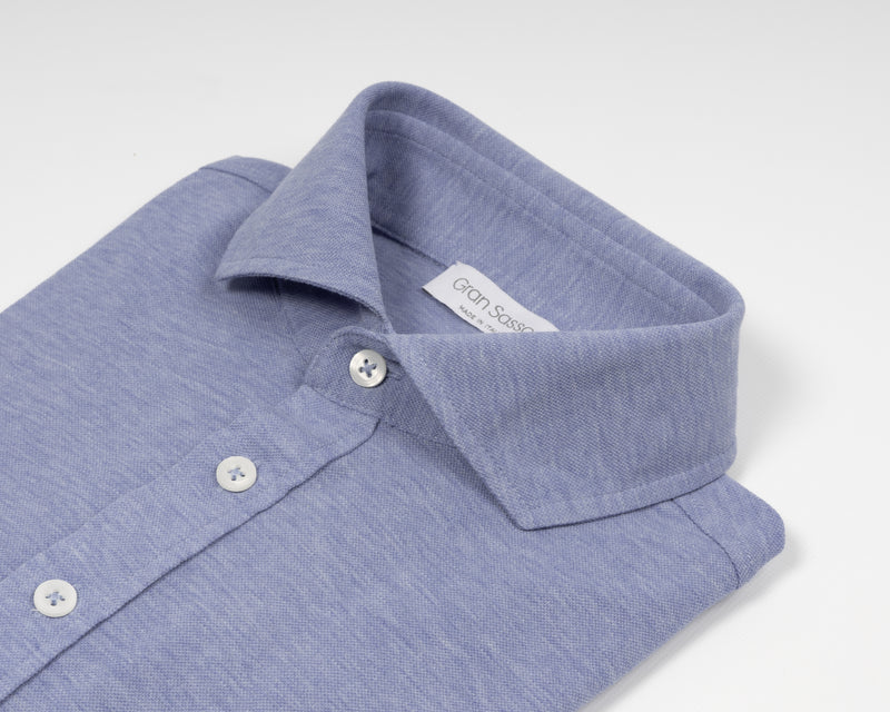 Gran Sasso long sleeved jersey shirt made of fine jersey cotton. Soft semi cutaway collar,  100% cotton. Great piece for easy going but chic summer outfits. Gran Sasso Knitted  Article: 60120  Quality: 81402   Color:  510 Light Blue Made in Italy