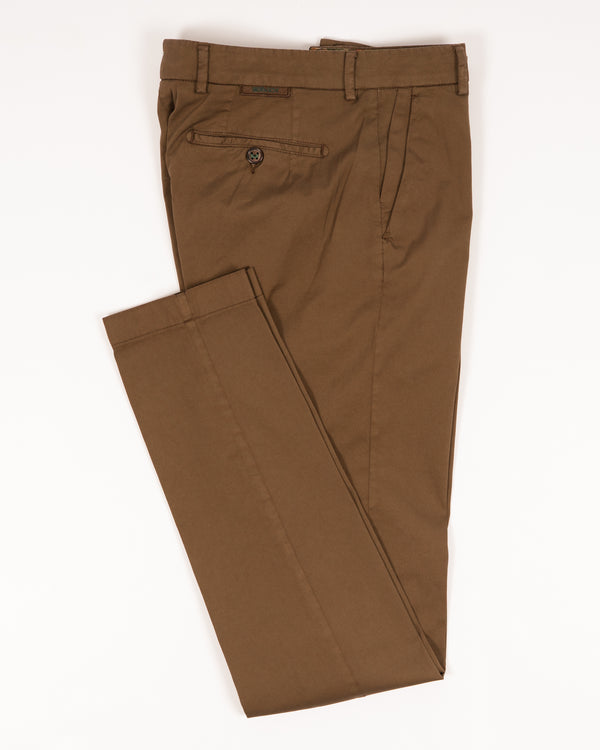 Berwich Morello Garment Dyed Chinos With Silk / Terra