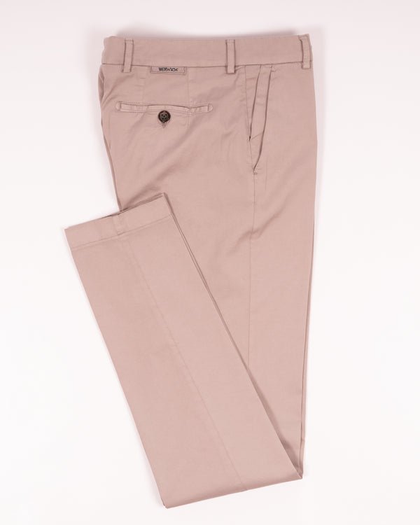Berwich Morello Garment Dyed Chinos With Silk / Conza