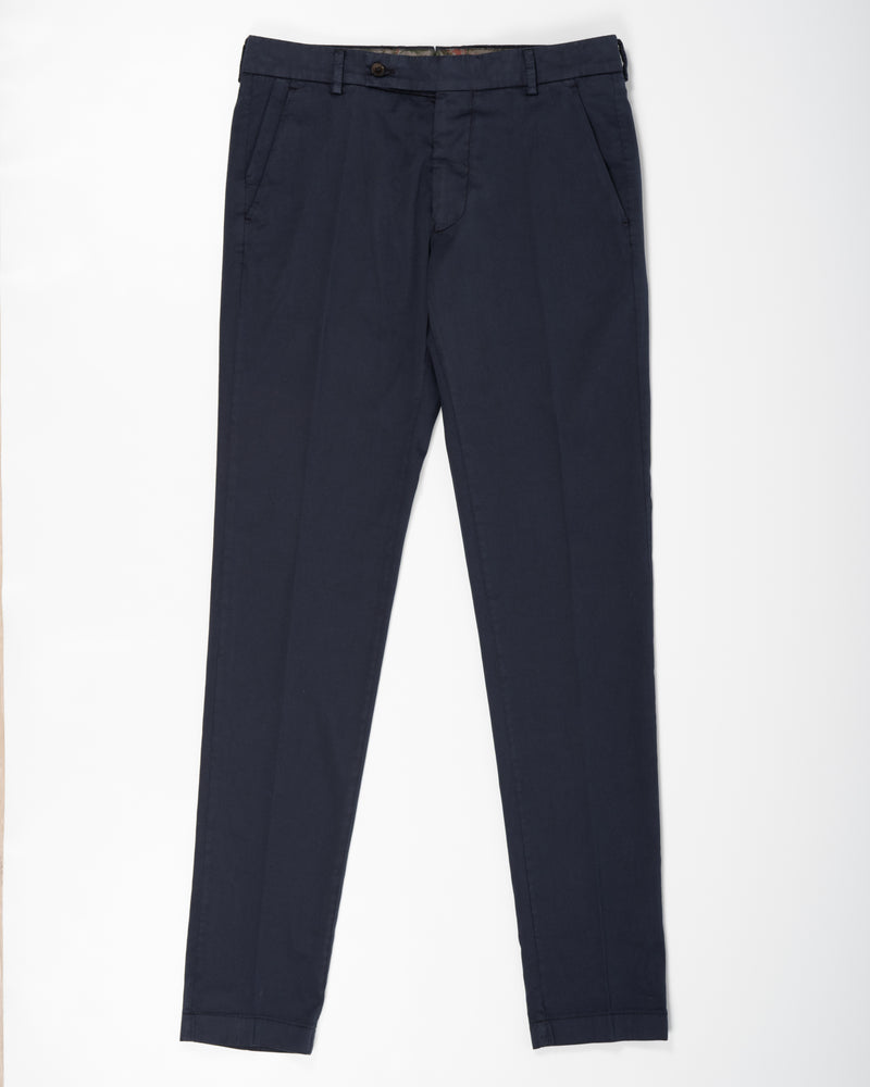 Berwich Morello Garment Dyed Chinos With Silk / Navy
