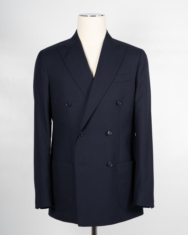 Gaiola Napoli Double Breasted Wool Jacket / Dark Blue