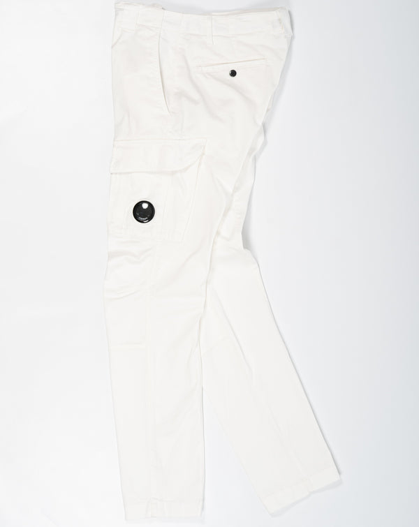 C.P. Company Stretch Sateen Garment Dyed Cargo Pants White