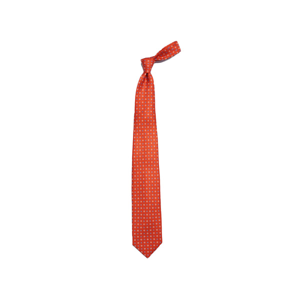 E. Marinella Intensive Red Floral Printed Silk tie