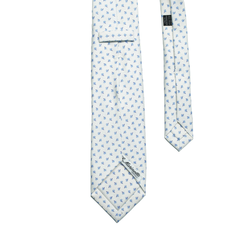 E. Marinella White & Light blue Floral Printed Silk tie