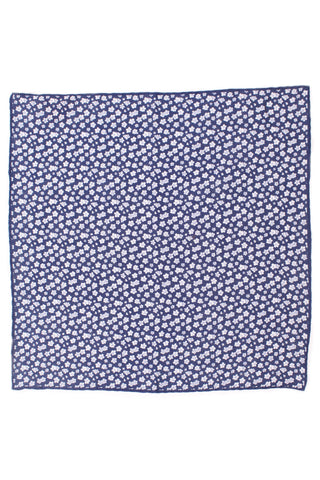 Linen Flower Pocket Square - Navy