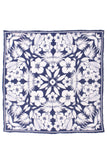Linen Floral Pocket Square - Navy