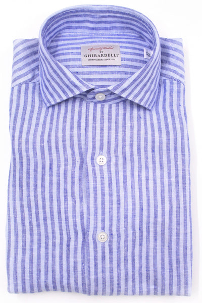 Linen Striped Shirt - Blue & Blue